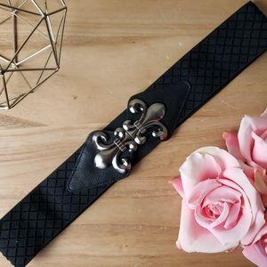 Black & Gunmetal Fleur de Lis Stretch Band Belt